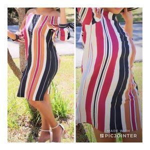 Ann Taylor Stripe off shoulder dress size XXS
